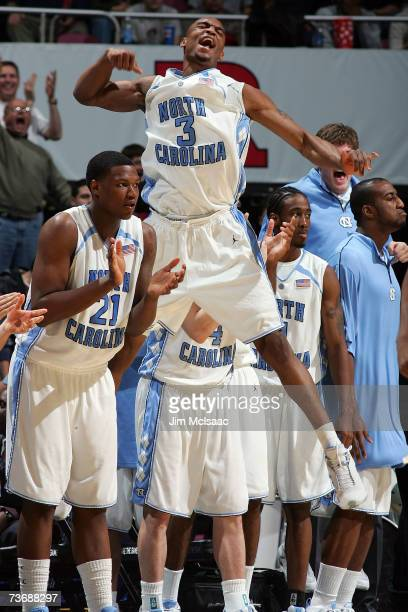 Reyshawn Terry of the University of North Carolina Tar Heels celebrates a play against the University of Southern California Trojans during the NCAA...