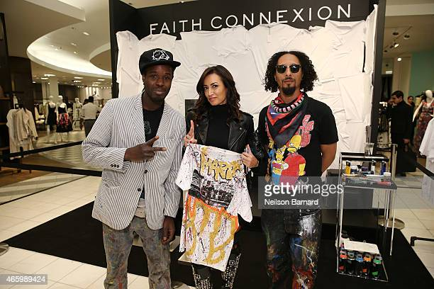 Reyz Maria Buccellati President of Faith Connexion and Le H attend the Faith Connexion Street Art Tour hosted by Saks Fifth Avenue and Marie Claire...