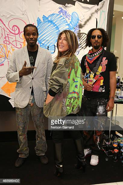 Reyz Nina Garcia Creative Director Marie Claire and Le H attend the Faith Connexion Street Art Tour hosted by Saks Fifth Avenue and Marie Claire at...
