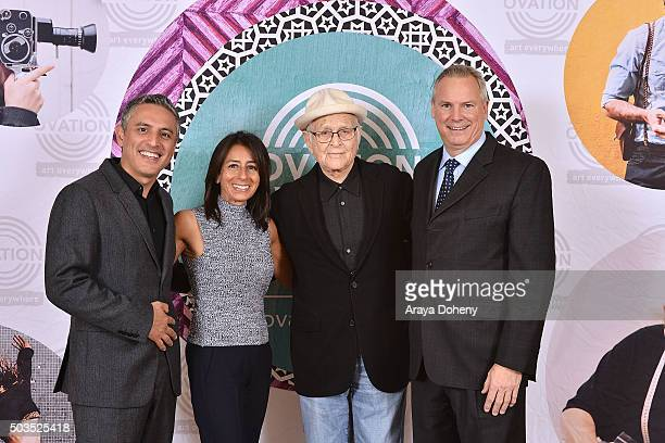 Reza Aslan Liz Janneman Norman Lear and Scott Woodward attend the Ovation 2016 Winter TCA Tour introducing three series featuring Rachel Hunter Reza...