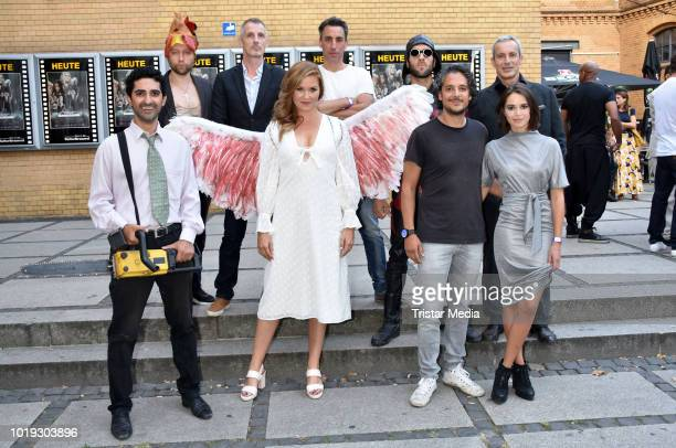 Reza Brojerdi, Adrian Topol, Judith Hoersch, Erkan Acar, Xenia Assenza, Gedeon Burkhard and cast during the 'Schneefloeckchen' Premiere at Kino in...