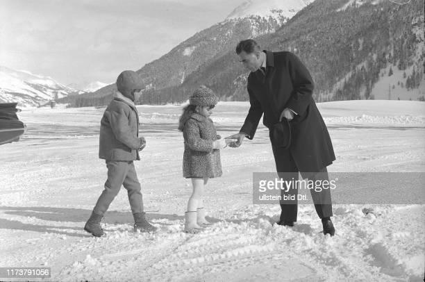 Reza Cyrus and Farahnaz Pahlavi in St Moritz 1968