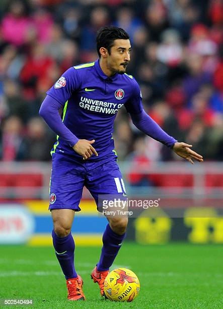Reza Ghoochannejhad of Charlton Athletic during the Sky Bet Championship match between Bristol City and Charlton Athletic at Ashton Gate on December...