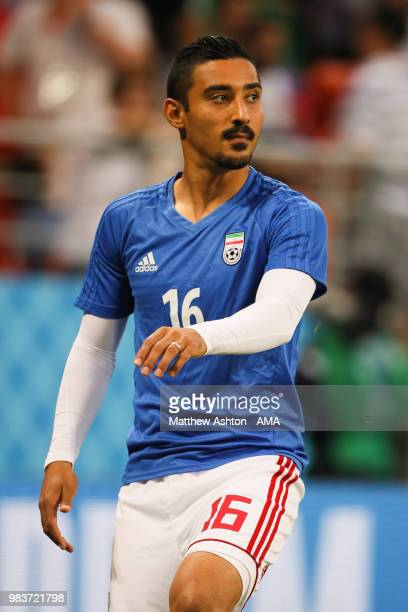 Reza Ghoochannejhad of IR Iran warms up prior to the 2018 FIFA World Cup Russia group B match between Iran and Portugal at Mordovia Arena on June 25...