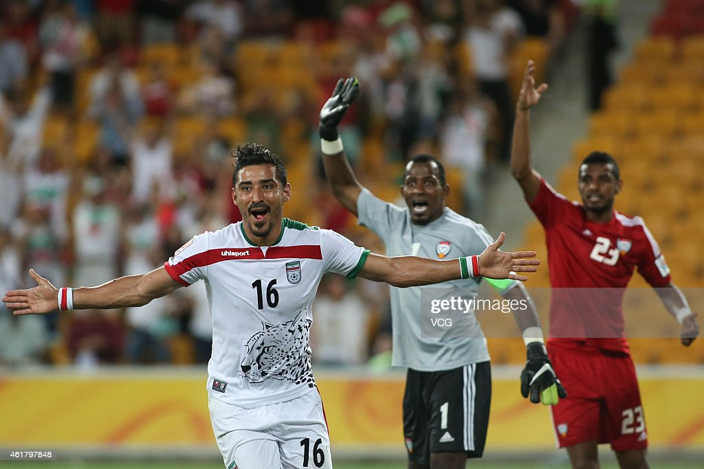 Reza Ghoochannejhad #16 of Iran celebrates after socring a goal during the 2015 Asian Cup match between IR Iran and the UAE at Suncorp Stadium on January 19, 2015 in Brisbane, Australia.