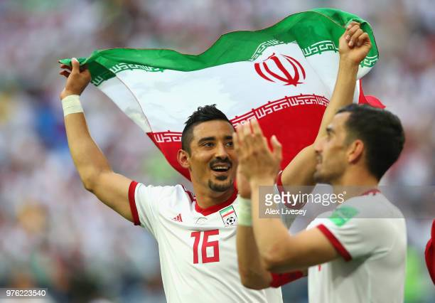 Reza Ghoochannejhad of Iran celebrates after the 2018 FIFA World Cup Russia group B match between Morocco and Iran at Saint Petersburg Stadium on...