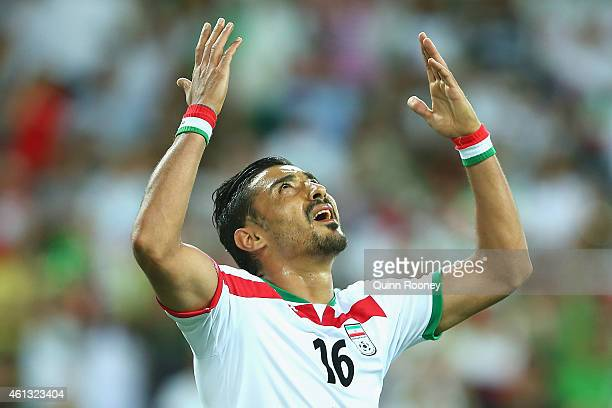 Reza Ghoochannejhad of Iran gestures after having a goal ruled offside during the 2015 Asian Cup match between IR Iran and Bahrain at AAMI Park on...