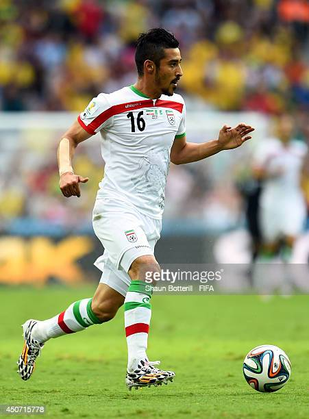 Reza Ghoochannejhad of Iran in action during the 2014 FIFA World Cup Brazil Group F match between Iran and Nigeria at Arena da Baixada on June 16...