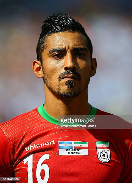 Reza Ghoochannejhad of Iran looks on during the 2014 FIFA World Cup Brazil Group F match between Argentina and Iran at Estadio Mineirao on June 21...