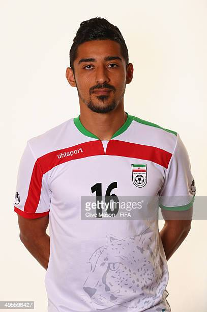 Reza Ghoochannejhad of Iran poses during the official FIFA World Cup 2014 portrait session on June 4 2014 in Sao Paulo Brazil