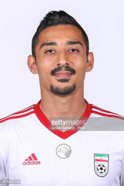 Reza Ghoochannejhad of Iran poses during the official FIFA World Cup 2018 portrait session at Bakovka Training Base on June 9 2018 in Moscow Russia