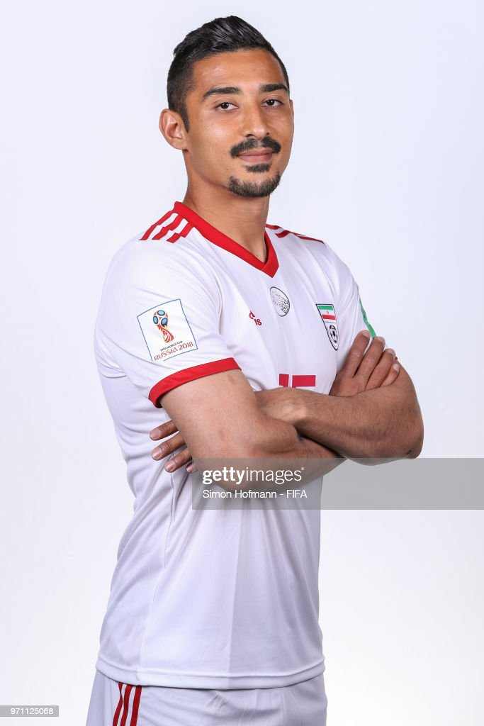 Reza Ghoochannejhad of Iran poses during the official FIFA World Cup 2018 portrait session at Bakovka Training Base on June 9, 2018 in Moscow, Russia.