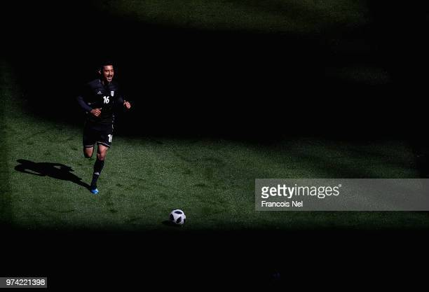 Reza Ghoochannejhad of Iran takes part in a training session ahead of the 2018 Fifa World Cup at St Petersburg Stadium on June 14 2018 in Russia
