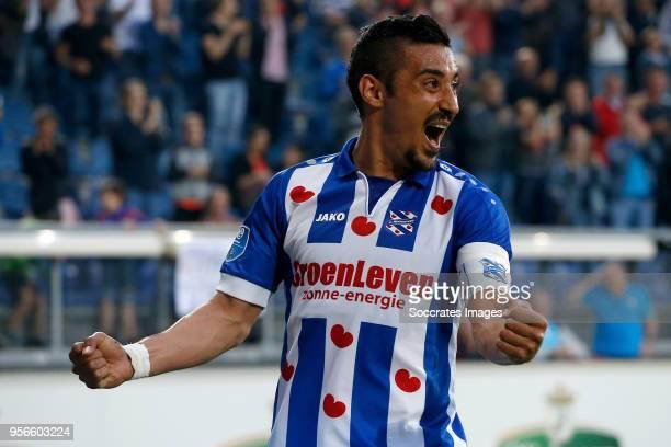 Reza Ghoochannejhad of SC Heerenveen celebrates 20 during the Dutch Eredivisie match between SC Heerenveen v FC Utrecht at the Abe Lenstra Stadium on...