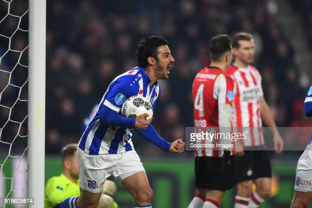 Reza Ghoochannejhad of SC Heerenveen celebrates 22 during the Dutch Eredivisie match between PSV v SC Heerenveen at the Philips Stadium on February...