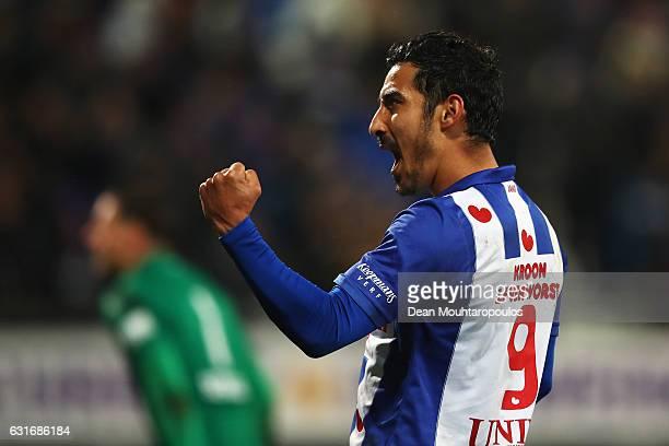 Reza Ghoochannejhad of sc Heerenveen celebrates scoring his teams second goal of the game during the Dutch Eredivisie match between SC Heerenveen and...