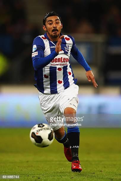 Reza Ghoochannejhad of sc Heerenveen in action during the Dutch Eredivisie match between SC Heerenveen and ADO Den Haag held at Abe Lenstra Stadium...