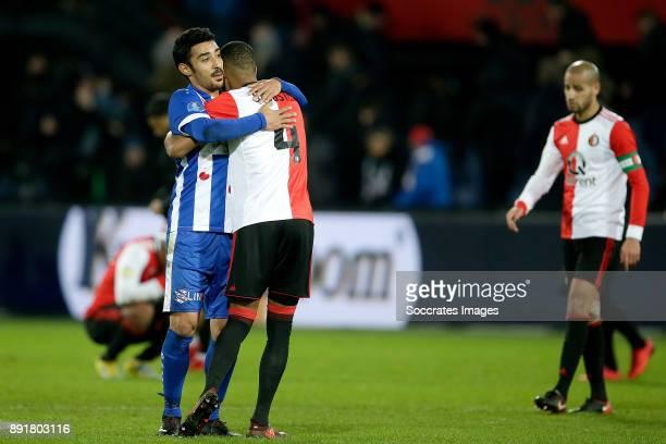 Reza Ghoochannejhad of SC Heerenveen Jeremiah St Juste of Feyenoord during the Dutch Eredivisie match between Feyenoord v SC Heerenveen at the...