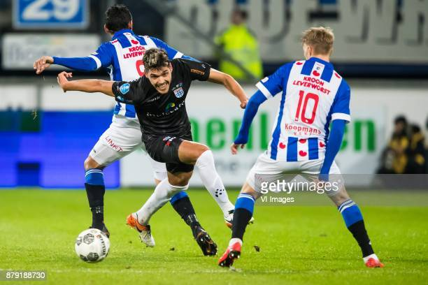 Reza Ghoochannejhad of sc Heerenveen Nicolas Freire of PEC Zwolle Martin Odegaard of sc Heerenveen during the Dutch Eredivisie match between sc...
