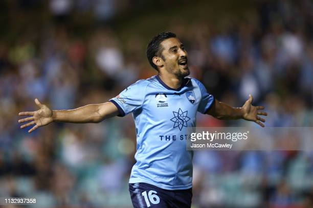 Reza Ghoochannejhad of Sydney celebrates scoring a goal during the round 21 ALeague match between Sydney FC and Adelaide United at Leichhardt Oval on...
