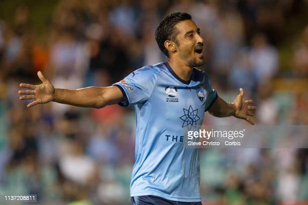 Reza Ghoochannejhad of Sydney FC reacts to scoring a goal during the round 21 ALeague match between Sydney FC and Adelaide United at Leichhardt Oval...