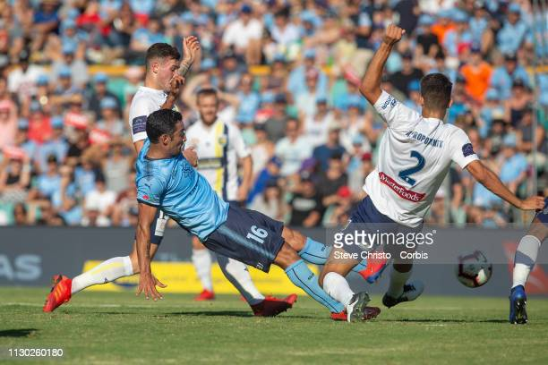 Reza Ghoochannejhad of Sydney FC shots at goal during the round 19 ALeague match between Sydney FC and the Central Coast Mariners at Leichhardt Oval...