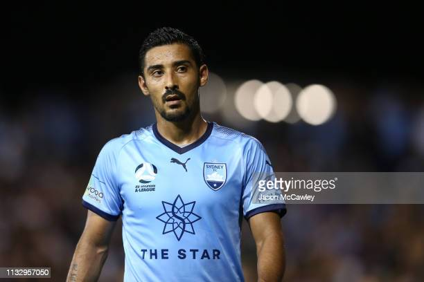 Reza Ghoochannejhad of Sydney looks on during the round 21 ALeague match between Sydney FC and Adelaide United at Leichhardt Oval on March 01 2019 in...