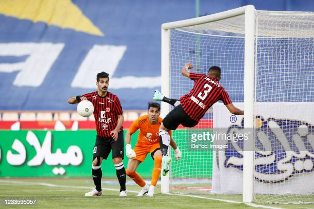 Reza Irandoust, Milad Farahani and Ali Nemati of Padideh looks on during the Persian Gulf Pro League match between Esteghlal and Padideh FC at Azadi...