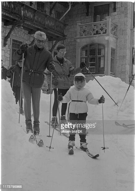 Reza Pahlavi and his daughter Farahnaz are ready to go skiing St Moritz 1967