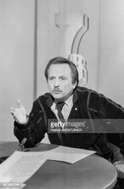 Régis Debray conseiller du président François Mitterrand invité de l'émission 7/7 sur TF1 le 25 mars 1984 Paris France