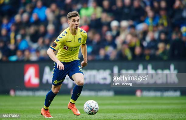 RGregor Sikosek of Brondby IF controls the ball during the Danish Alka Superliga match between Brondby IF and FC Copenhagen at Brondby Stadion on...