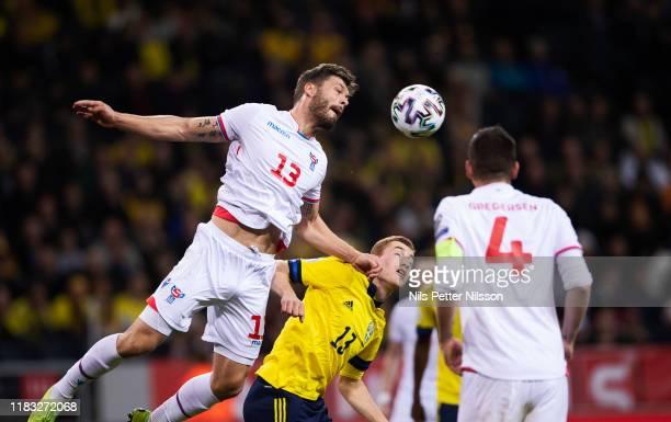 Rógvi Baldvinsson of Faroe Islands and Dejan Kulusevski of Sweden during the UEFA Euro 2020 Qualifier between Sweden and Faroe Islands on November 18...