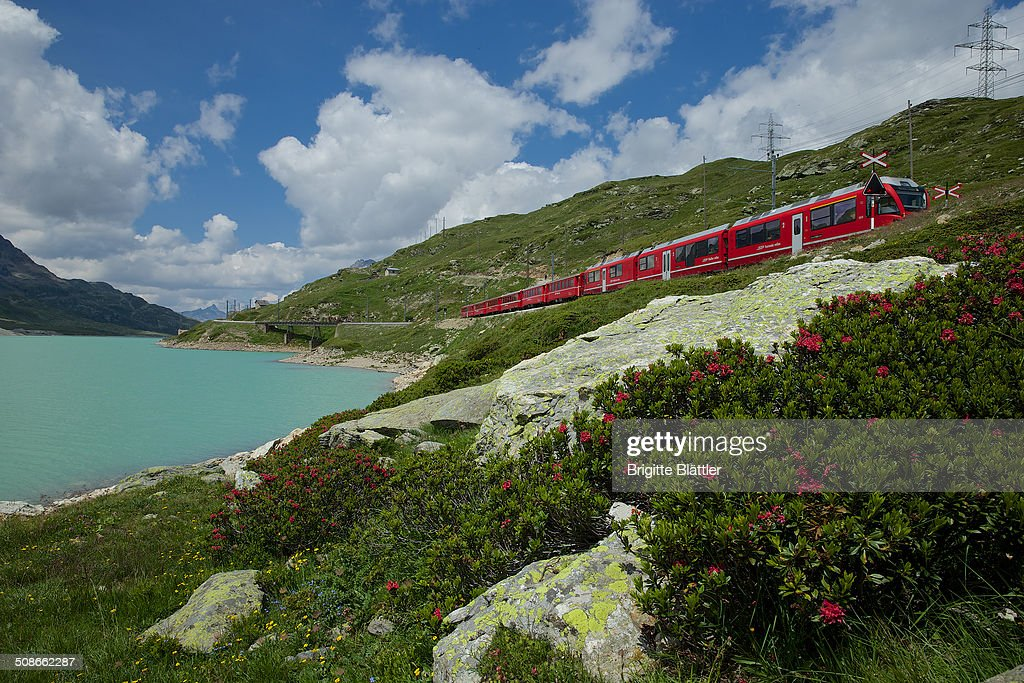 RHB, Rhaetian Railway, along the Lago Bianco (2234m) on the Unesco World heritage route in Grisons, Engadin, Switzerland