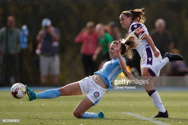 Rhali Dobson of Melbourne City and Natasha Rigby of Perth Glory contest the ball during the round ten WLeague match between Melbourne City and Perth...