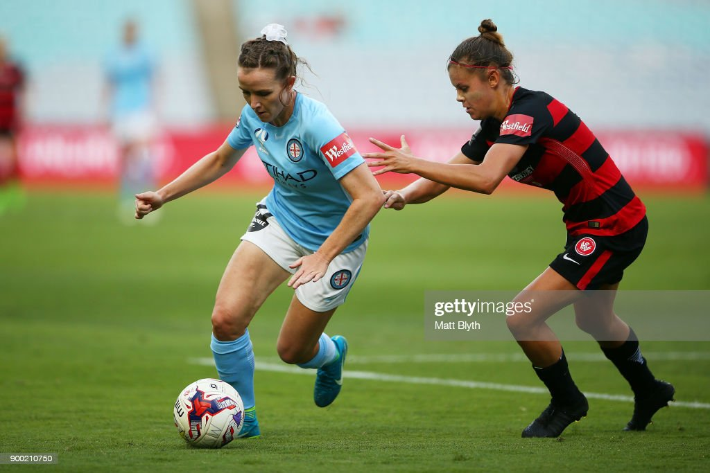 Rhali Dobson of Melbourne City controls the ball during the round nine W-League match between the Western Sydney Wanderers and Melbourne City at ANZ Stadium on January 1, 2018 in Sydney, Australia.
