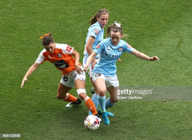 Rhali Dobson of Melbourne City is challenged by Hayley Raso of the Roar during the round 12 WLeague match between Melbourne City and the Brisbane...