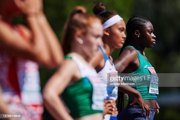 Rhasidat Adeleke of Ireland prepares in the Women's 100m Round 1 heats during European Athletics U20 Championships Day 1 at Kadriorg Stadium on July...