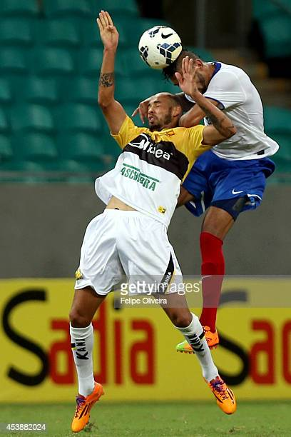 Rhayner of Bahia battles for the ball during the match between Bahia and Criciuma as part of Brasileirao Series A 2014 at Arena Fonte Nova on August...