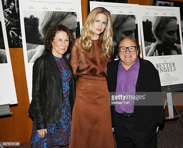 Rhea Perlman Brit Marling and Danny DeVito arrive at the Los Angeles Premiere of 'The Better Angels' held at DGA Theater on October 27 2014 in Los...