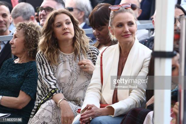 Rhea Perlman, Drew Barrymore and Cameron Diaz attend a ceremony honoring Lucy Liu With Star On The Hollywood Walk Of Fame on May 01, 2019 in...