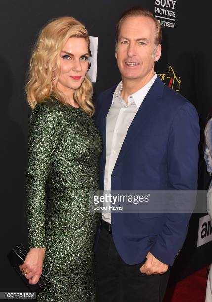 Rhea Seehorn and Bob Odenkirk attend AMC's 'Better Call Saul' Premiere during Comic Con 2018 at UA Horton Plaza on July 19 2018 in San Diego...