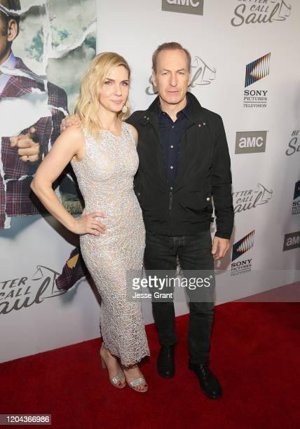 Rhea Seehorn and Bob Odenkirk attend the premiere of AMC's Better Call Saul Season 5 on February 05 2020 in Los Angeles California