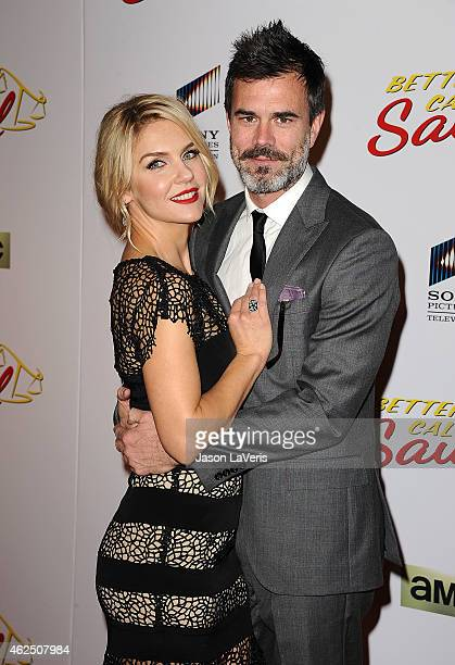 Rhea Seehorn and Graham Larson attend the premiere of Better Call Saul at Regal Cinemas LA Live on January 29 2015 in Los Angeles California