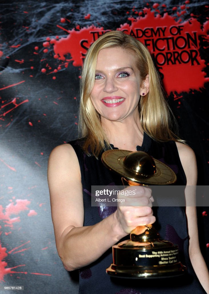 Rhea Seehorn poses in the press room at the Academy Of Science Fiction, Fantasy & Horror Films' 44th Annual Saturn Awards at The Castaway on June 27, 2018 in Burbank, California.