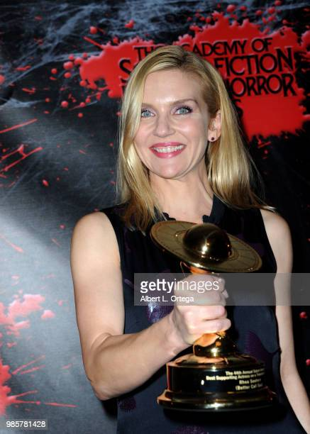 Rhea Seehorn poses in the press room at the Academy Of Science Fiction Fantasy Horror Films' 44th Annual Saturn Awards at The Castaway on June 27...