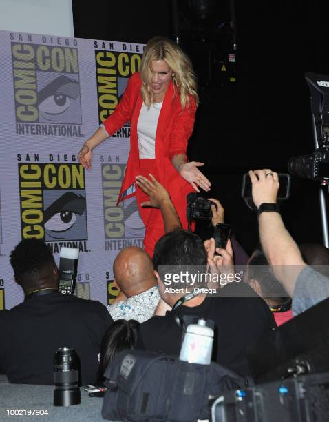 Rhea Seehorn walks onstage during AMC's 'Better Call Saul' during ComicCon International 2018 at San Diego Convention Center on July 19 2018 in San...