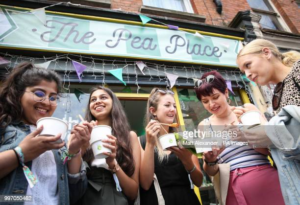 Rhea Shah Smrithi Kumar Charlotte Kearney Emma Clarke and Maddie Brunt at the UK's first popup cafe in London serving only the great British Pea to...