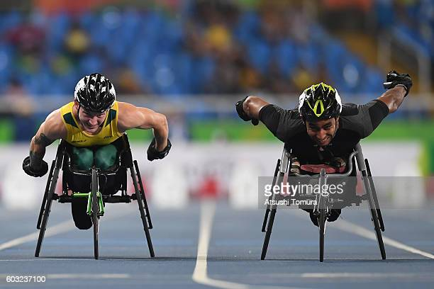 Rheed McCracken of Australia and Walid Ktila of Tunisia compete in the Men's 100m T34 Final on day 5 of the Rio 2016 Paralympic Games at the Olympic...
