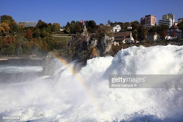 Rhein Falls with rainbow