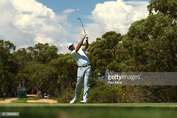 Rhein Gibson of Australia plays his third shot on the 6th hole during day three of the 2016 Perth International at Karrinyup GC on February 27 2016...